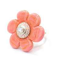 Glass Flower Bead Ring Handmade Lampwork Salmon Pink Orange Sterling Silver Jewelry Customize