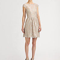 Aidan Mattox - Metallic Lace Dress - Saks Fifth Avenue Mobile