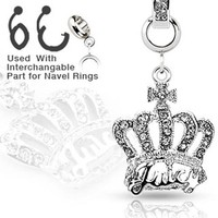 Add-On Paved Clear Gem Crown Dangle Charm for Navel Belly Button Rings, Dermal Anchors and More