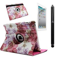 For The New iPad 3 & 4 360 Rotating PU Leather Cover Smart Case Flower Pink SS