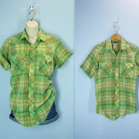 Vintage Western Shirt / 1970s Pearl Snap Plaid Shirt / small
