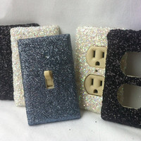 Black White Grey SIX Pack of Glitter Switchplates