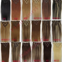 Any Color&Length Clip In Human Hair Extensions Real Full&Half Head WEFT 70G/100G