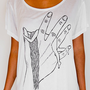 Women&#x27;s Tshirt Tunic Top - White - Custom Printed Hand Drawn Original Design Hand Holding Woman Art