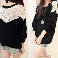 CROCHET TRIMMED SHOULDER WOMEN KNIT TOP XS/S BLACK/PINK/WHITE