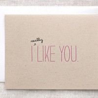 Cute Valentine Card I Like You Card by HappyDappyBits on Etsy