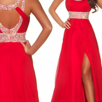 New Sexy Red Beaded Prom DressFormal Gowns Party Ball Evening Dresses Sz Custom
