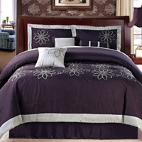 7 PC MODERN PURPLE with GRAY TRIM COMFORTER SET / BED IN A BAG - QUEEN SIZE BEDDING