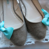 Emma Bow Shoe Clips  Tiffany Blue / Aqua  GIFT by PrettyMadilyn