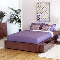 Chase Storage Queen Platform Bed, Medium Brown | Bedroom Furniture| Furniture | World Market