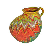 Vintage Elizabeth McNitt Painted &quot;Tortilla&quot; Terra Cotta Jug