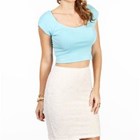 Mint Ponte Cropped Top