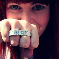 $40.00 Custom Two Finger Tattoo Banner Ring  Strength by MerCurios