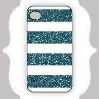 iPhone Case- White/Teal Glitter Stripe- iPhone 4 Case, iPhone 4s Case, iPhone 5 Case, Monogram Case, Personalized iPhone Case