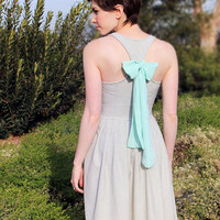SAGE FIELDS - Heather green linen dress with pockets // pastel mint chiffon bow // pleated skirt // bridesmaid dress // vintage inspired