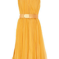 Alexander McQueen|Belted silk-chiffon dress|NET-A-PORTER.COM
