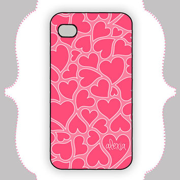 iPhone  Case- Flowing Hearts - iPhone 4 Case, iPhone 4s Case, iPhone 5 Case, Monogram Case, Personalized iPhone Case