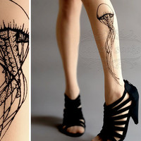 thigh-high Jellyfish TATTOO gorgeous  stockings Light Mocha