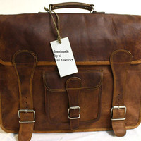Handmade leather messenger bag / cross body/ Laptop bag/ MacBook bag/ Retro leather Satchel/front pocket/ travel/ shoulder bag