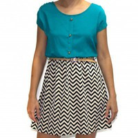 Teal Chevron Dress - Dresses
