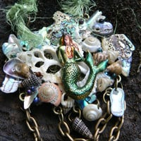 mermaid grotto necklace mermaid siren abalone seashells silk sari ribbon resort wear cruise wear beach wear high fashion gypsy boho