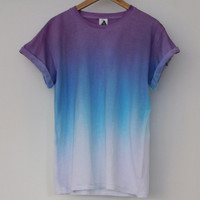 ANDCLOTHING  Purple Blue Horizon Dip Dye Tee