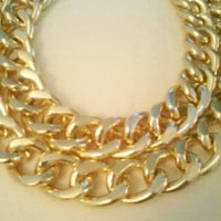 Bohemian Double Layered Chunky Gold or Black Chain Link Necklace