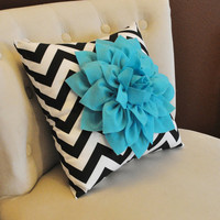 Light Turquoise Dahlia on Black and White Zigzag by bedbuggs