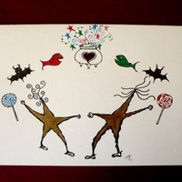 Alternative / Folk - Valentine - Romance - Greeting Card w / envelope - Recycled Paper - IntricateKnot