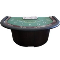 Trademark Poker Deluxe Blackjack Table with Pedestal Legs Metal Locking Tray