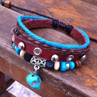4 circles leather bracelet with blue beads, blue skull bracelet, metal ethnic bracelet, braided rope bracelet, rivet bracelet