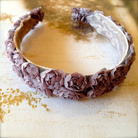 Mocha blossom headband. Also available in dusty lavender. Ready to ship.