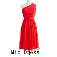 New arrival one-shoulder sleeveless knee-length red chiffon with sashes short Prom/Evening/Party/Homecoming/Bridesmaid/Cocktail/Formal Dress