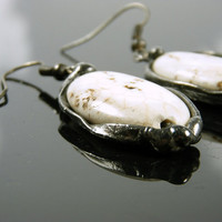 White Earrings - Natural Stone Earrings - White Howlite Earrings - Tiffany Technique