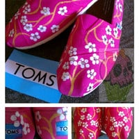 Hand Painted TOMS shoes Pink Cherry Blossom by conchetts on Etsy