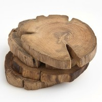 Poketo Teak Wood Coasters - Set of 4