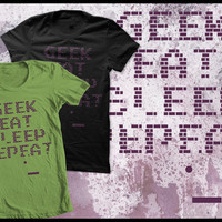 Geek eat sleep repeat cotton Tshirt by purplecactusdesign on Etsy