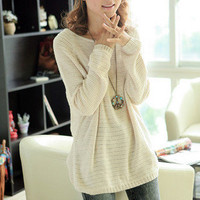 Beige Loose Bat Hollow Sweater on Luulla