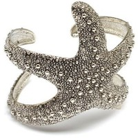 Designer Silver Tone Rhodium Plated Starfish Adjustable Cuff Bangle Bracelet