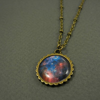 Galaxy Necklace - Galaxy Pendant Necklace - Blue Galaxy Necklace - Space Planet Jewelry