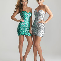 Silver Sequin Sweetheart Short Fitted Prom Dress - Unique Vintage - Cocktail, Pinup, Holiday & Prom Dresses.