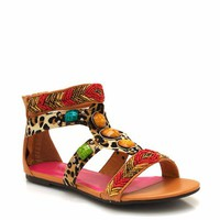 beaded-printed-combo-gladiator-sandals BLACK BROWN - GoJane.com