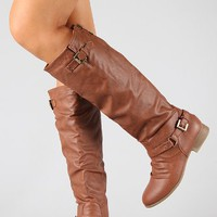 COCO 1 Womens Buckle Riding Knee High Boots TAN