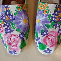 Custom Toms, mixed bouquet purple flowers, your size, your colors, your flower ideas