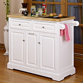 View white kitchen cart with black from apartment - Big lots kitchen carts ...