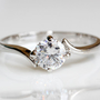 18K white gold plated swarovski crystal engagement bridal Ring R265