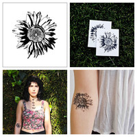 Sunflower - temporary tattoo (Set of 2)