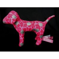 "Victoria's Secret 7"" Plush Pink Leopard Print Dog with Silver Spots"