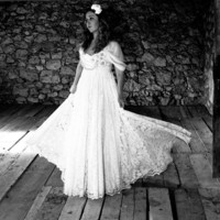 Vintage Inspired Wedding Dress in White or Ivory by WeddingLab