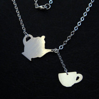 $50.00 Teapot Teacup Necklace  Hand Cut Silhouettes by OffbeatMelody